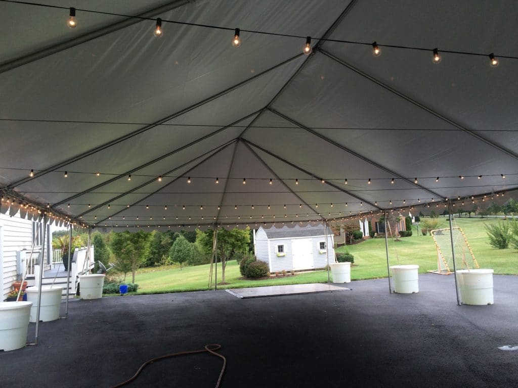 Bistro Lights Strung Back and Forth Across Tent at 8u0027 Height & Party Tent Rentals Wedding Tent Rentals MD VA DC | A Grand Event