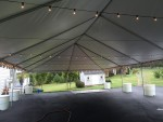 Bistro Lights Strung Back and Forth Across Tent at 8' Height