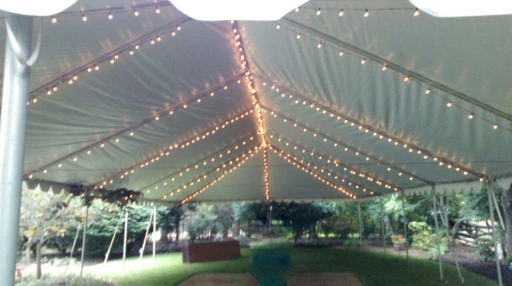 Bistro Lights in Ceiling of Tent Without Liner & Party Tent Rentals Wedding Tent Rentals MD VA DC | A Grand Event