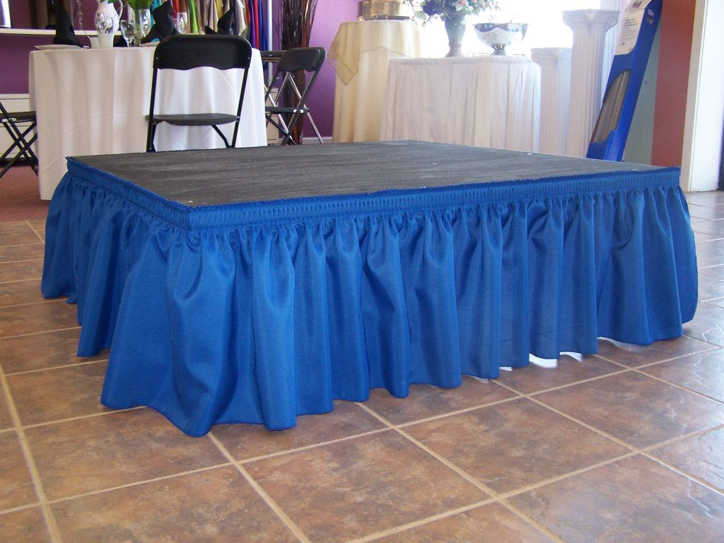 Dance floor rentals event stage rental wedding dance floor rental skirting for stage available in a variety of sizes and colors junglespirit Images