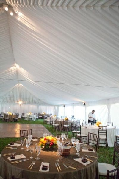 Interior of Frame Tent with Liner & Wedding Tents Rentals | A Grand Event
