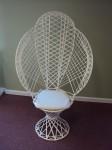 White Wicker Fanback Chair