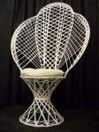 White Wicker Fanback Chair w/ Cushion