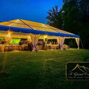 Clear Top Structure Tent with Twinkle Lighting and Leg Drapes