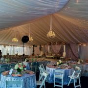 White Taffeta Tent Liner with Chandelier and Twinkle Lighting