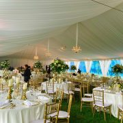 White Taffeta Tent Liner with Leg Drapes and Crystal Chandeliers