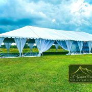 White Top Frame Tent with Clear Walls and Leg Drapes